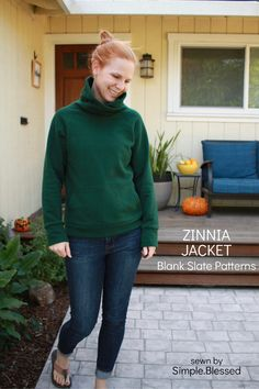 Zinnia Jacket sewing pattern by Blank Slate Patterns sewn by Simple. Sweatshirt Makeover, Sweatshirt Refashion, Sweatshirt Outfit, Jacket Pattern, Dresses With Leggings, Cowl Neck, Slate, Sweatshirts, Blessed
