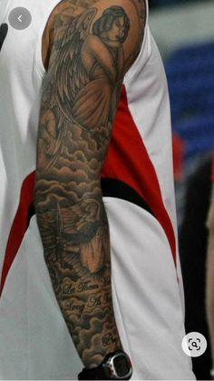 Cloud Tattoo Sleeve, Angel Sleeve Tattoo, Forearm Sleeve Tattoos, Full Sleeve Tattoos, Tattoo Sleeve Designs, Tattoo Sleeves, Cloud Tattoos, Angels Tattoo, Angel Tattoo Men