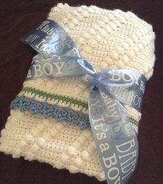 Soft handmade heirloom quality baby blanket in blue, green and white $39.99 by HookYarnAndHooper on Etsy  #craftshout0219
