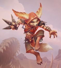 "The vulpera (pronounced ""vuhl-PEH-ruh"") are a race of nomadic fox people that inhabit the deserts of Vol'dun on Zandalar. Intelligent and resourceful, they travel across the dunes in caravans and survive by scavenging and trading. Though long hunted and enslaved by the sethrak of the Faithless empire, the vulpera found the strength to fight back after being aided by Horde adventurers in Vol'dun and have now pledged their loyalty to the Horde. Fox Character, Character Concept, Warcraft Art, World Of Warcraft, Fantasy Paintings, Fantasy Art, Final Fantasy, Fantasy Creatures, Mythical Creatures"