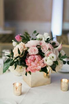 Low Wedding Centerpieces: Keep It Classic With Traditional Flower  Arrangements In Low Vases. These Pastel Pink Peonies And Roses In A Box  Vase Blend Well ... Part 90
