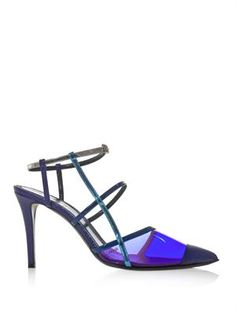Iridia PVC and leather point-toe pumps