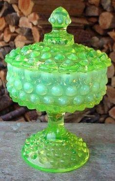 Fenton Glass Topaz Opalescent Hobnail Covered Candy Dish