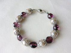 CLEARANCE SALE - Pearl Bracelet Bridal Jewelry Classic Wedding Jewelry Bridesmaids Bracelet Vintage Wedding Purple Bead Jewelry