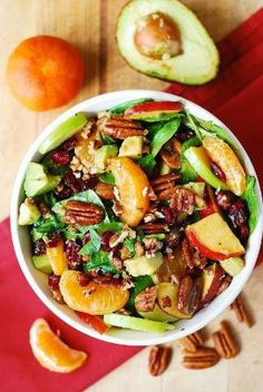Apple Cranberry Spinach Salad with Pecans, Avocados (and Balsamic Vinaigrette Dressing) by samanthasam