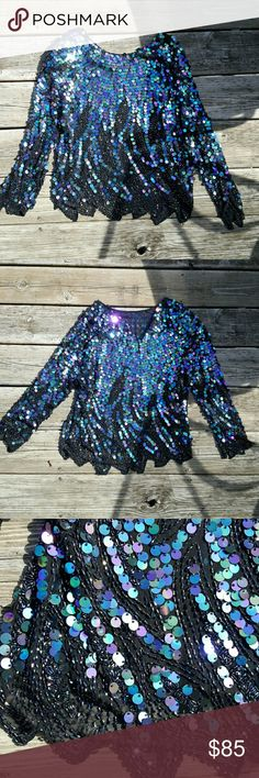 Totally 80's sequine and silk long sleeve top In very good vintage condition - has some spots with missing sequines but not noticeable  Can fit sizes S & M Tops Blouses