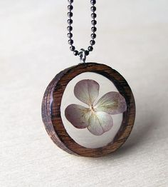 Hydrangea & Wood Necklace by BuildWithWood on Scoutmob Shoppe