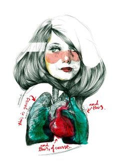 Woman, color, line, humanity, paint dripping into heart and lungs. Rosy cheeks: Painting by Paula Bonet