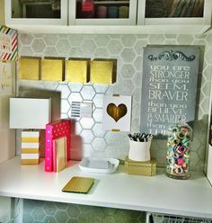 Modern and Geometric Office desk makeover using Royal Design Studio honeycomb allover wall stencils and metallic silver paint - via justmylittlemess Work Cubicle Decor, Cubicle Organization, Work Desk Decor, Decorate Office Cubicle, Cubicle Decorations, Cubicle Design, Cubicle Walls, Desk Setup, Cubicle Makeover