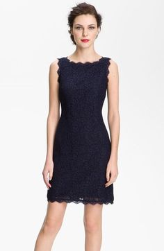 Adrianna Papell Boatneck Lace Sheath Dress (Regular & Petite) available at #Nordstrom