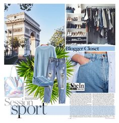 """""""SheIn Blue Bleached Ripped Pockets Denim Pant"""" by pinki1994 ❤ liked on Polyvore featuring shein"""