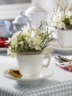 Befüllen Sie eine Tasse mit Tazetten oder anderen kleinen Blümchen und stellen Sie diese statt einem Strauß auf den Frühstückstisch.