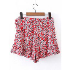 SheIn(sheinside) Ditsy Print Ruffle Layered Skirt Shorts (1315 RSD) ❤ liked on Polyvore featuring shorts, red shorts, red floral shorts, floral printed shorts, floral print shorts and summer shorts