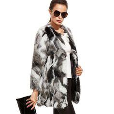 SheIn Winter Elegant Women Outerwear Coats Color Block Long Sleeve Multicolor Collarless Women Faux Fur Coat