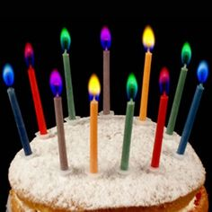 Colour Flame Birthday Candles (12 pack)