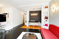 486 sf. apt. in NYC: love the minimalist design, bright colors, light fixtures. It even has a walk-in closet, washer/dryer in unit, and a decent sized kitchen!