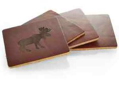 """Entertain your guests with some flair using this four piece coaster set! This unique set comes with four solid leather coasters measuring 4"""" x 4"""" and features a beautiful saddle brown tone.  An ideal promotional product for kitchen appliance companies or restaurants. Customize with a deboss or laser engraving of your choice and watch the odds stack up in your favor! A great way to class up your next party! Made in USA."""