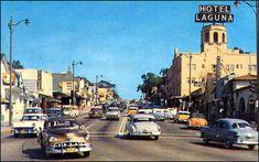 Pacific Coast Highway in Laguna Beach California, mid 1950's.