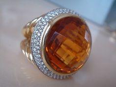 $6500 DAVID YURMAN 18K SOLID DIAMOND ORANGE CITRINE RING - http://designerjewelrygalleria.com/david-yurman/6500-david-yurman-18k-solid-diamond-orange-citrine-ring/