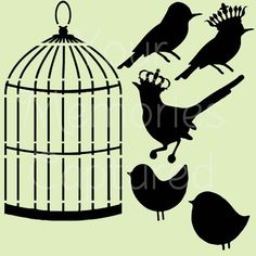 Shabby Chic French Birds with Birdcage Reusable Stencil - for fabric, wood, paper, canvas, walls - 8x8