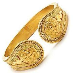 Ilias Lalaounis Lion Head Bangle Cuff Bracelet 18K & 22K Gold - WestonJewelry.com
