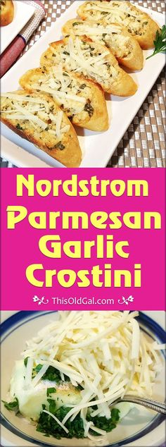 Nordstrom Parmesan Garlic Crostini is crunchy, garlicky and cheesy and is always served with Nordstrom's famous Tomato Basil Soup. via @thisoldgalcooks