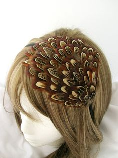 PROMO Feather fascinator headband - Amber brown almond patterned  - Choose headband, comb, elastic band, or hair clip op Etsy, 9,02€