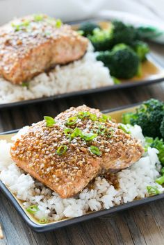 Almond Crusted Salmon with Honey Garlic Sauce - A healthy and quick 7 ingredient meal that's full of flavor.