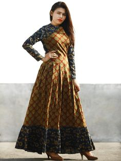 Maroon Rust Indigo Beige Hand Block Printed Long Cotton Dress With Box Pleats - D184F1137