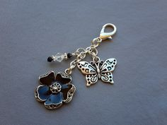 Flower Planner Charm with Metal Butterfly Metal by ZipsandMore