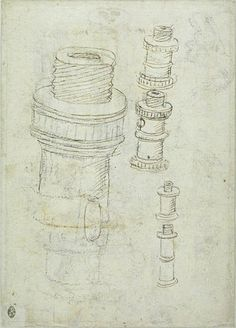 Pisanello. Cannon pieces with screw connection, mid 15C. Louvre, Paris. Codex Vallardi INV 2295, verso