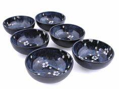 Dark Blue Plum Blossom Ice Cream Bowl Set