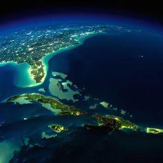 Terra vista do espaço                         Península da Flórida (EUA), Cuba e algumas ilhas caribenhas