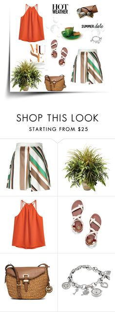 """""""Summer"""" by murenochek ❤ liked on Polyvore featuring MSGM, Nearly Natural, Tory Burch, MICHAEL Michael Kors, Anne Klein, Hermès, Summer, summerstyle and summerdate"""
