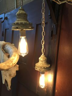 This vintage hanging duo has been restyled and fitted with edison bulbs for a clean modern vintage look. Hang these as accent or mood lighting in any room. Ready to be plugged in or can be electricall                                                                                                                                                     More