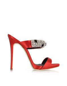 87d24f018ee Giuseppe Zanotti Flame Red Satin Mule w Crystal 37 (7 US