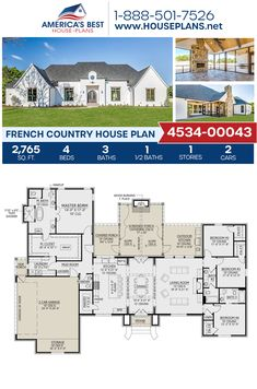 A goregous French Country home design, Plan 4534-00043 features 2,765 sq. ft., 4 bedrooms, 3.5 bathrooms, split bedrooms, a kitchen island, an open floor plan, a screened-in porch, and a mudroom. #frenchcountry #architecture #houseplans #housedesign #homedesign #homedesigns #architecturalplans #newconstruction #floorplans #dreamhome #dreamhouseplans #abhouseplans #besthouseplans #newhome #newhouse #homesweethome #buildingahome #buildahome #residentialplans #residentialhome Small Modern House Plans, Best House Plans, Dream House Plans, House Floor Plans, Floor Plan 4 Bedroom, 4 Bedroom House Plans, French Country House Plans, Country House Design, Affordable House Plans