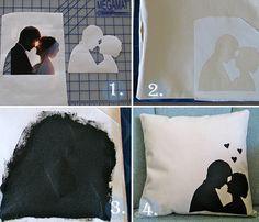 Você irá precisar de:  Fronha branca; Pincel; Tinta para tecido preta; Folha de ofício; Imagens da sua escolha. Aqui, foi utilizado um cupido e um casal. Veja abaixo: