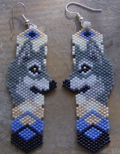Wolf Head Earrings Hand Made Seed Beaded by wolflady on Etsy
