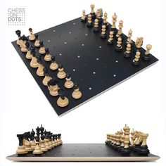 "Chess on Dots an innovative estheatic Dutch Design. Plays as easy as a regular chess board but provides more ""breathing space"" to the pieces. Automatic centring on the Dots delivers a perfect positioning. By carefully adding colour to the grains of the wood each chess piece creates its own peace of art."