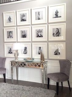 Love this black and white photo wall.