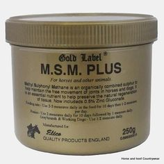 Gold Label MSM Plus This is high quality MSM at a very competitive price which also includes 0 05 Zinc Gluconate MSM is an organically combined