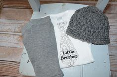 Newborn  Baby Boy Coming Home Outfit  Personalized Little Brother - Family Pictures - Gray Legwarmers and Crocheted Hat on Etsy, Sold