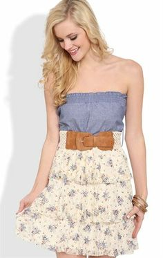 Deb Shops #chambray smocked strapless bodice crochet belt floral lace triple tier skirt $25.00