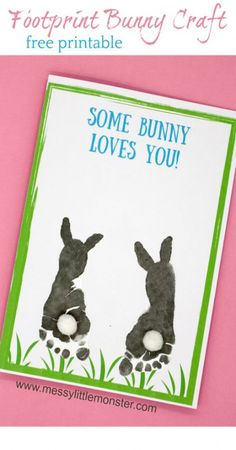 Some bunny loves you! Make a footprint bunny craft with your baby or toddler using our free printable keepsake card. Great for Mother's Day, Father's Day, Valentine's day or Easter. crafts for toddlers Footprint Bunny Craft - FREE printable keepsake card Daycare Crafts, Preschool Crafts, Daycare Ideas, Easter Crafts For Toddlers, Easter For Babies, Toddler Crafts Valentines Day, Some Bunny Loves You, Diy Ostern, Easter Art