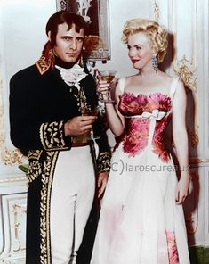 Photo: #MarilynMonroe  visits #MarlonBrando  on the set of #Desiree  1954 #colorized