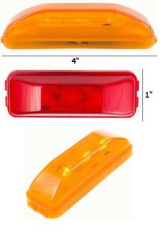 "4"" x 1"" Rectangle Sealed Side Marker and Clearance LED Light  Rectangle Style Side Marker and Clearance light. Available in Red, Amber, or Clear. Lens is poly carb material, giving it extra durability. Ideal for cars, buses, tow trucks, work vehicles, big rigs, transportation vehicles, public work vehicles, government work vehicles, or anything else in need of this style of light. Operates on 10-30 volts."