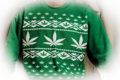 Marijuana Christmas Sweater Patterned Crew by TerboimagingDesigns, $40.00