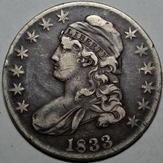 1833 BUST HALF DOLLAR-.892 SILVER-VF+-VERY FINE+ FREE USA SHIP-WOW!