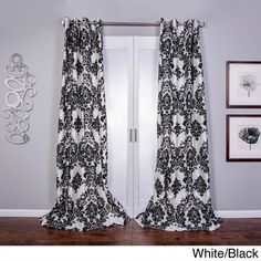 Venetian Faux Silk Grommet Top Curtain Panel ($58) ❤ liked on Polyvore featuring home, home decor, window treatments, curtains, black, damask window curtains, black damask curtains, faux silk window panel, grommet curtain panels and window curtains